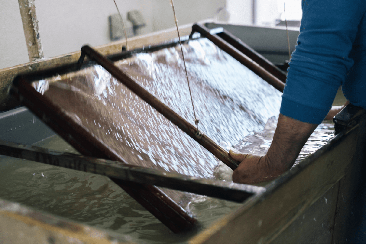 Culture of washi paper cultivated by streams of clean water